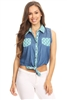 Solid Denim Sleeveless Button Down Crop Top HM-123A-BLUE-MINT (6 PC)