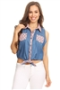 Solid Denim Sleeveless Button Down Crop Top HM-123A-BLUE-PINK (6 PC)