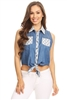 Solid Denim Sleeveless Button Down Crop Top HM-123A-BLUE-WHITE (6 PC)