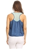 Women Lace-back Chambray denim top HM-136-1-Blue-Mint