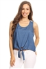 Women Lace-back Chambray denim top HM-136-1-BLUE-WHITE (6 PC)