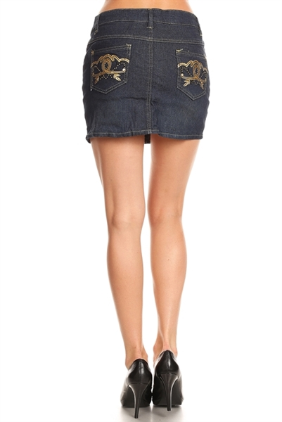 5 Pockets Classic Denim Mini Skirts HSS-18-Navy