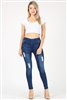 High Waist Distressed Stretch Denim Jeggings JVE1006-MED-BL(6PC)