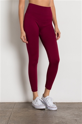 High-Waist Fleece Leggings-LGHA-101-Burgundy