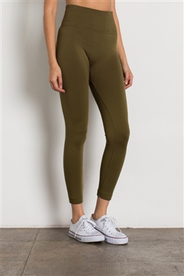 High-Waist Fleece Leggings-LGHA-101-OLive