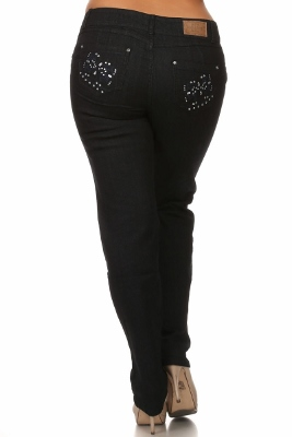 Wholesale denim jeans Levanta pompis LPSB-4017-Black