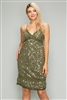 Juniors Silk-Cotton Sequin dresses -M6071-Olive(6 PC)