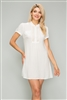 WOVEN Button Up Short Dress-M6378-Off-Wth-(6 PC)