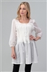 Woven Smocked Button Down Tunic Dress M6736-OFF WHITE (6 PC)