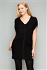 Knit Zipper Front Tunic Dress M6777-BLACK (6 PC)