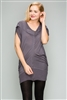 Knit Zipper Front Tunic Dress M6777-charcoal(6 PC)