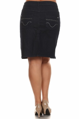 Wholesale plus size Denim Skirt (size 16-24)  MSC-5203 Navy