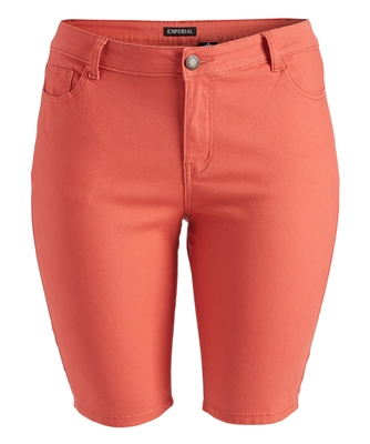 Plus Size color twill Bermuda pants - NBB-108-Coral