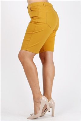 Plus Size colored twill Bermuda pants NBB-108-Mustard