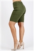Plus Size colored twill Bermuda pants NBB-108-Olive