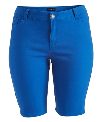 Plus Size color twill Bermuda pants - NBB-108-Royal