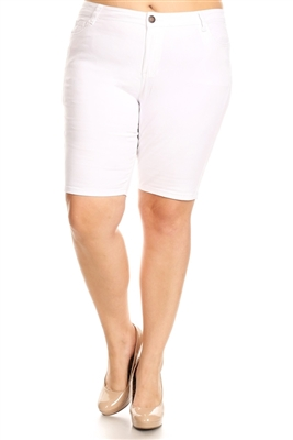 Plus Size color twill Bermuda pants - NBB-108-White