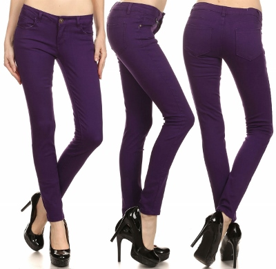 Wholesale Pants Basic 5 Pockets NSP-103 Purple