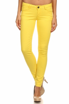 Wholesale Pants Basic 5 Pockets NSP-103 Yellow