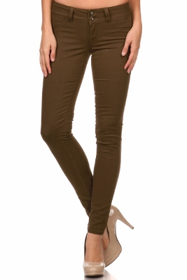 Wholesale Cotton Spandex Color Pants  NSP-105-Brown
