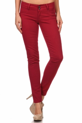 Wholesale Cotton Spandex Color Pants  NSP-105-Burgundy