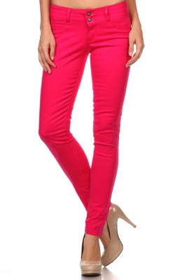 Wholesale Cotton Spandex Color Pants  NSP-105-Fushia