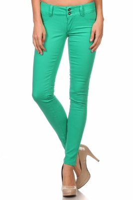 Wholesale Cotton Spandex Color Pants  NSP-105-Green