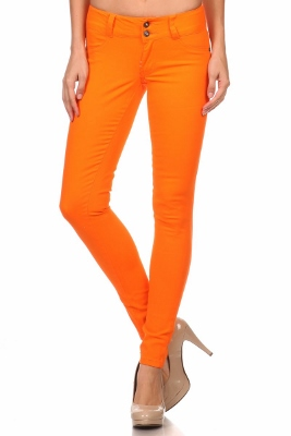 Wholesale Cotton Spandex Color Pants  NSP-105-Orange