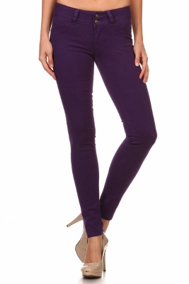 Wholesale Cotton Spandex Color Pants  NSP-105-Purple