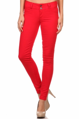 Wholesale Cotton Spandex Color Pants  NSP-105-Red