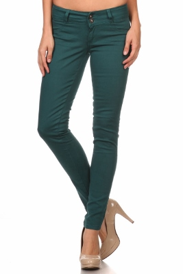Wholesale Cotton Spandex Color Pants  NSP-105-Teal