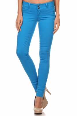 Wholesale Cotton Spandex Color Pants  NSP-105-Turquoise