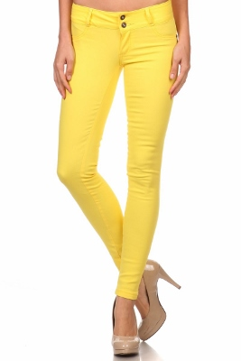 Wholesale Cotton Spandex Color Pants  NSP-105-Yellow