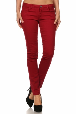 Wholesale Pants Basic 5 Pockets NSP-111-Burgundy