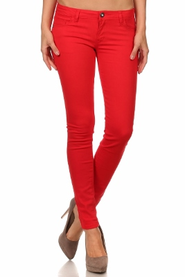 Wholesale Pants Basic 5 Pockets NSP-111-Red