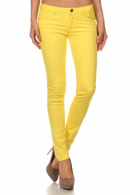 Wholesale Pants Basic 5 Pockets NSP-111-Yellow