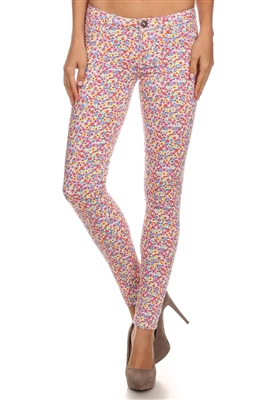 NSP-521 Flower Printed Pants-White