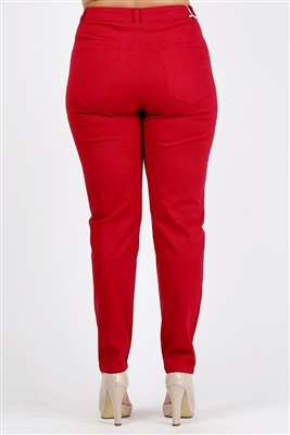 Plus Size colored High Waist Twill pants NSPB-801-Burgundy