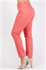 Plus Size colored High Waist Twill pants NSPB-801-Coral