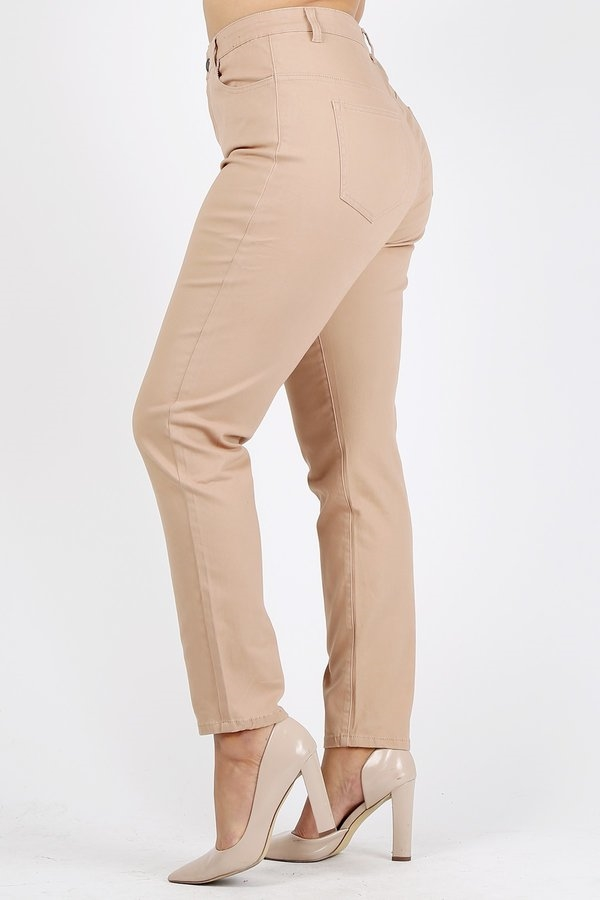 9d6eced69e5 Plus Size colored High Waist Twill pants NSPB-801-Khaki
