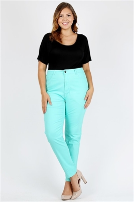 Plus Size colored High Waist Twill pants NSPB-801-Mint