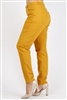 Plus Size colored High Waist Twill pants NSPB-801-Mustard