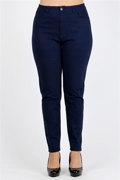 Plus Size colored High Waist Twill pants NSPB-801-Navy