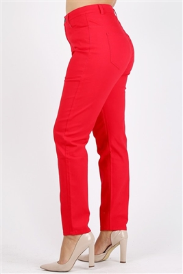 Plus Size colored High Waist Twill pants NSPB-801-Red