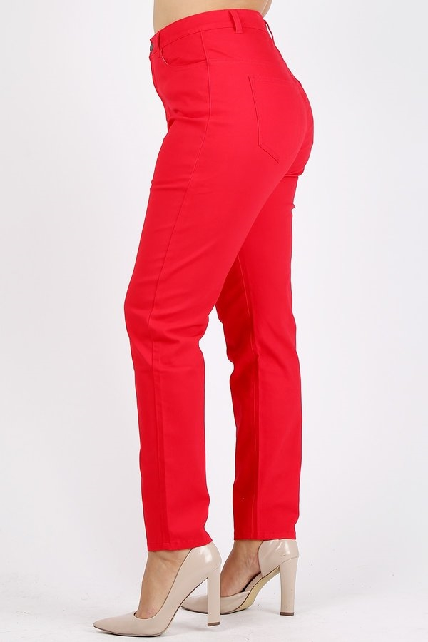 6ffad2bff88 Plus Size colored High Waist Twill pants NSPB-801-Red Wholesale Plus size  twill pants. Larger Photo