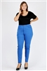 Plus Size colored High Waist Twill pants NSPB-801-Royal