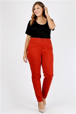 Plus Size colored High Waist Twill pants NSPB-801-Rust