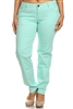 PLUS SIZE COTTON STRETCH PANTS NSPB107-MINT