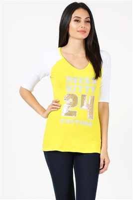 Juniors V-Neck Sport Tee P-3010-Yellow
