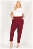 High Waist Plus size relaxed fit pants 87001X-Burgundy(6 PC)